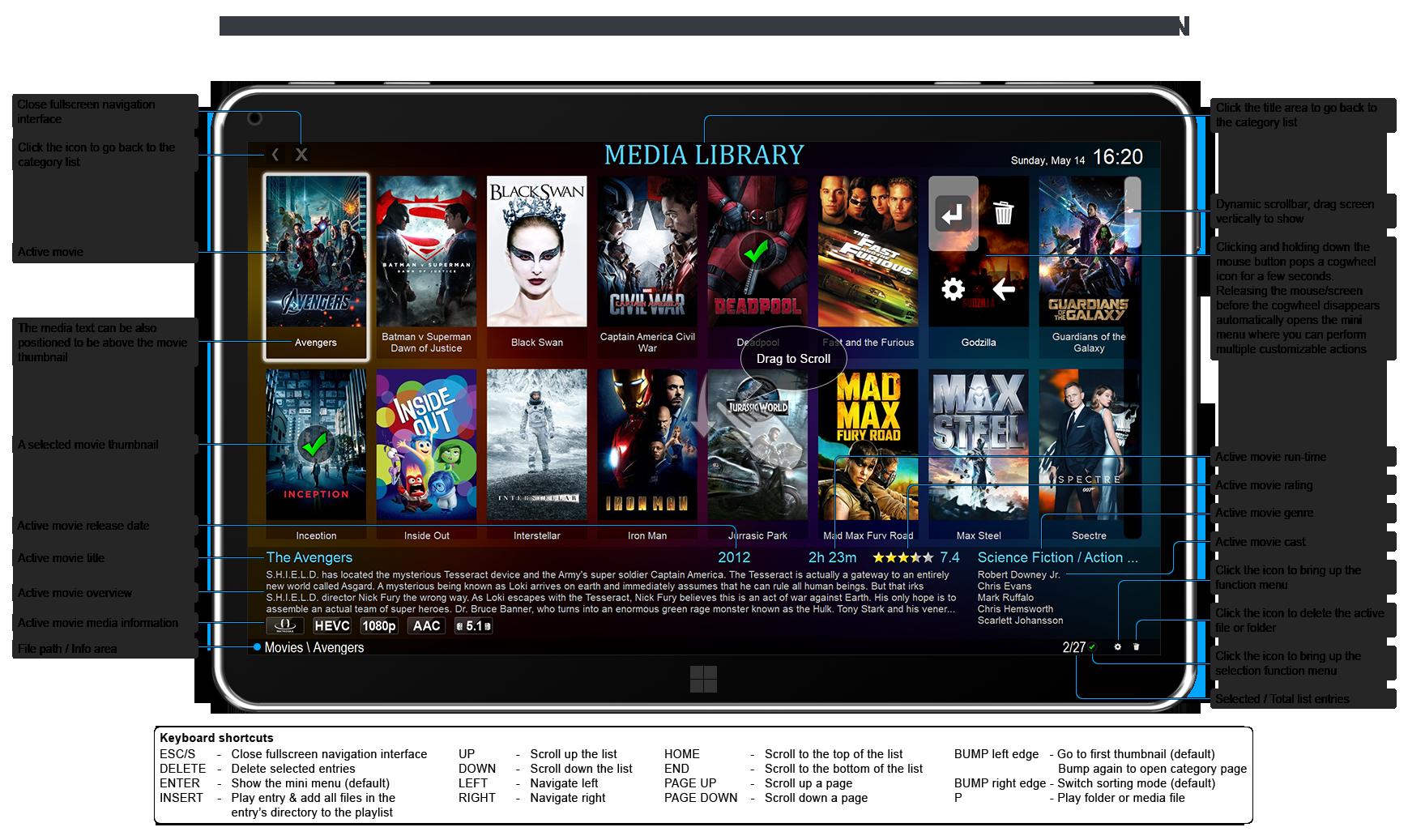 Fullscreen Navigation (media library movie mode)